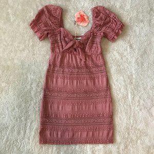 Show Me Your Mumu Honey Mini Lace Dress Pink XS